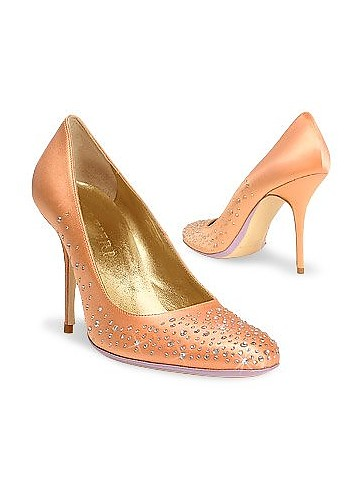 Jeweled Satin and Leather Pump - Forzieri