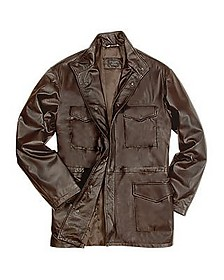 Men's Dark Brown Italian Four-Pocket Leather Jacket - Forzieri