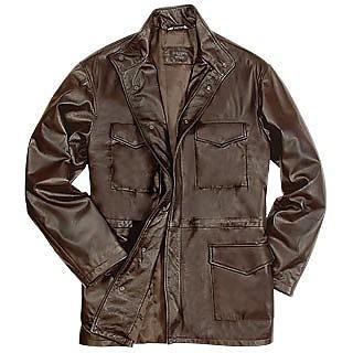 Men's Dark Brown Italian Four-Pocket Leather Jacket - Forzieri