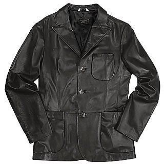 Men's Black Italian Genuine Leather Blazer - Forzieri