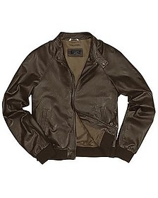 Men's Dark Brown Italian Genuine Leather Bomber Jacket - Forzieri