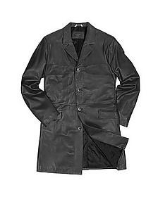 Итальянское Мужское Черное Пальто из Натуральной Кожи - Forzieri