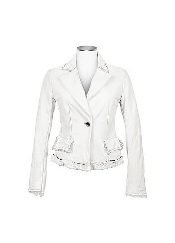 Embroidered White Distressed Italian Leather Blazer - Forzieri