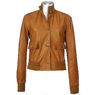 Women's Tan Italian Genuine Leather Two-pocket Jacket - Forzieri