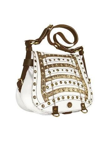 Ghibli Jeweled Flap White Messenger Calf Leather Bag