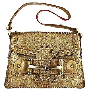 Borchie - Gold Studded Leather Flap Shoulder Bag - Gucci