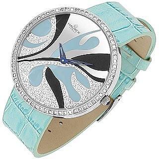 La Mostra - Sky Blue Deco Swarovski Dial Croco Leather Watch - Haurex