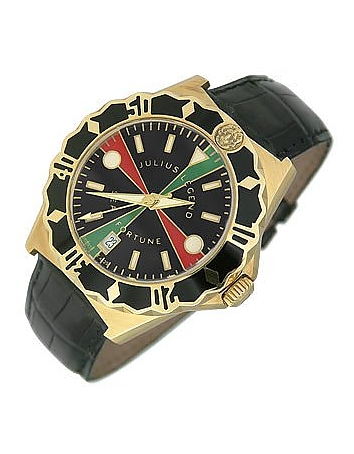 Julius Legend - Sea Fortune Diver - 18K Gold and Leather Watch