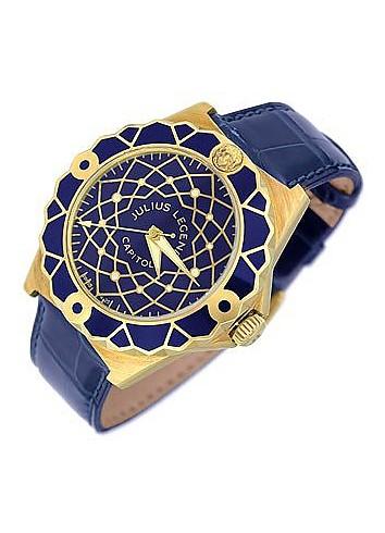 Capitol - 18K Gold & Blue Crocodile Leather Watch - Julius Legend