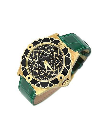 Capitol - Montre en or 750/1000 et cuir croco vert