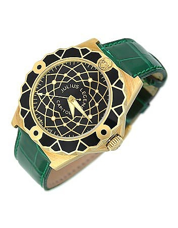 Capitol - 18K Gold & Green Crocodile Leather Watch