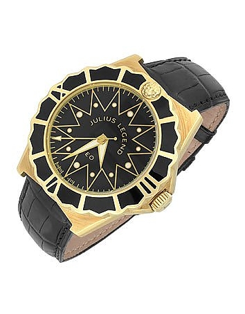 Julius Legend - Leo - 18K Gold and Crocodile Leather Automatic Watch