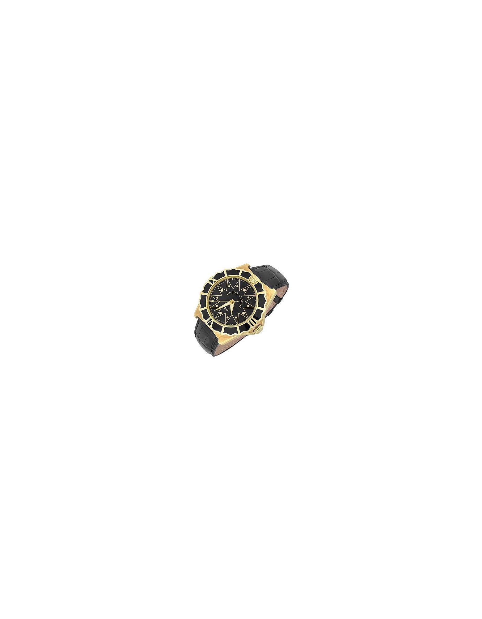Leo - Orologio Automatico in Oro 18ct e pelle di coccodrillo