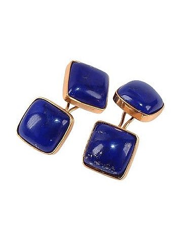 1950s Style Mens Clothing Vintage Style Lapis Lazuli Cufflinks $1,020.00 AT vintagedancer.com