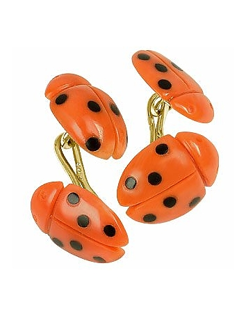 Forzieri Exclusives - Vintage Ladybug Coral and Onyx 18K Gold Cufflinks