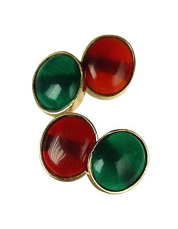 1950s Style Mens Clothing Agate and Carnelian 18K Gold Cufflinks $986.00 AT vintagedancer.com
