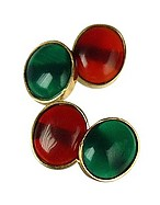 Lux-ID 208222 Agate and Carnelian 18K Gold Cufflinks