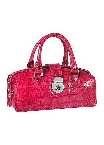 Hot Pink Croco-embossed Mini Doctor Style Bag - L.A.P.A.