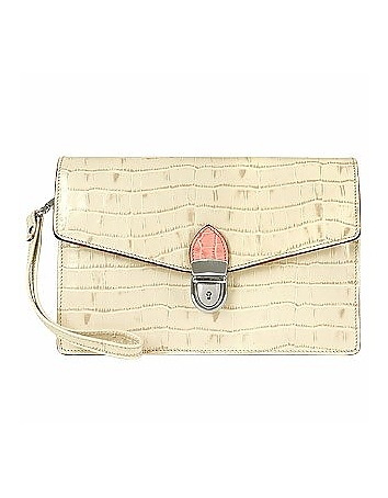 Ivory Croco-embossed Leather Clutch