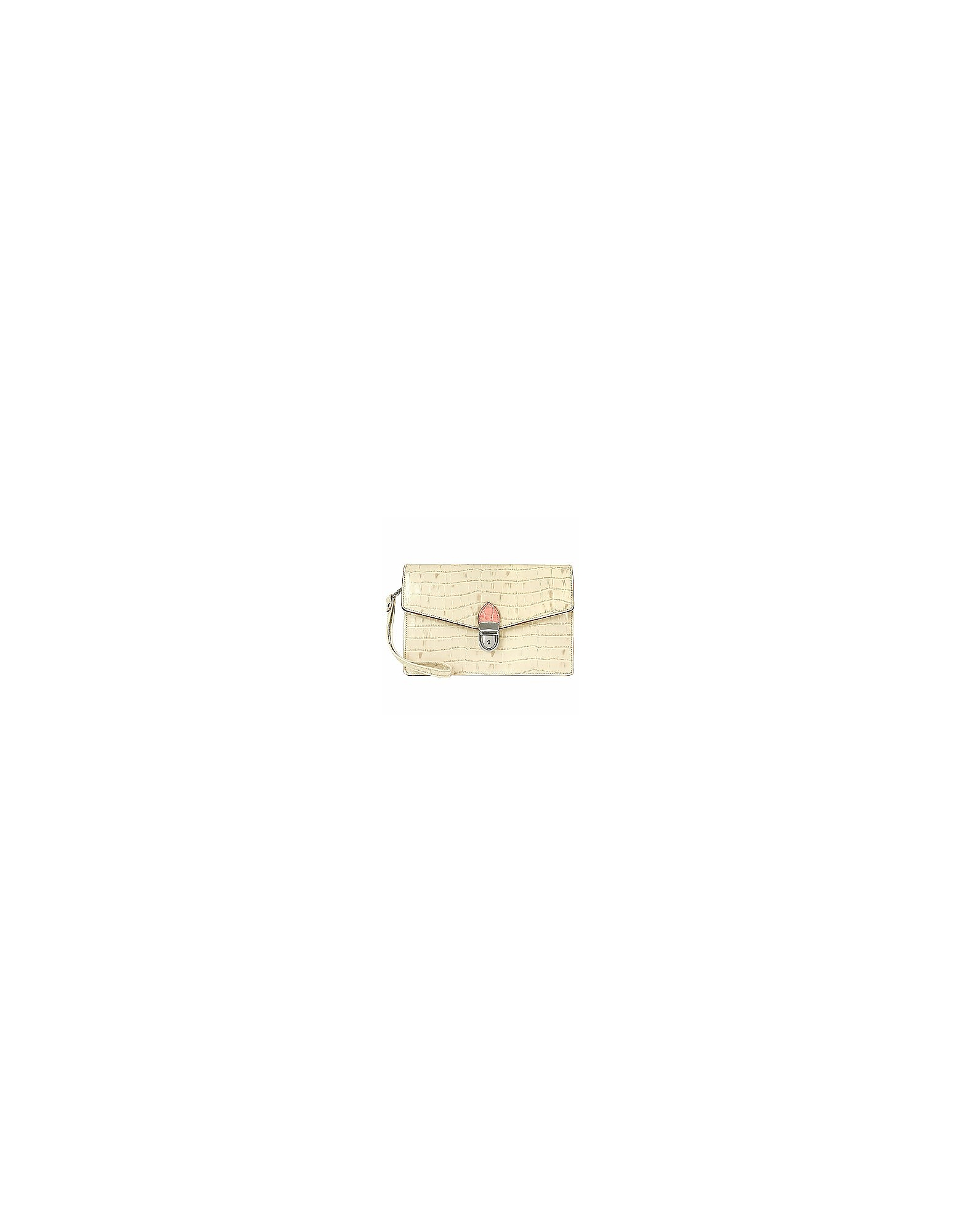 Clutch in Pelle Stampa Cocco Avorio