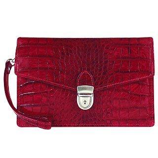 Foto der Handtasche L.A.P.A. Kirschrotes Clutch aus Leder mit Krokodilpraegung