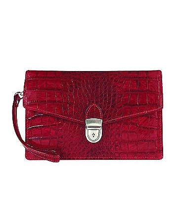1950s Handbags, Purses, and Evening Bag Styles Cherry Croco-embossed Leather Clutch $350.00 AT vintagedancer.com