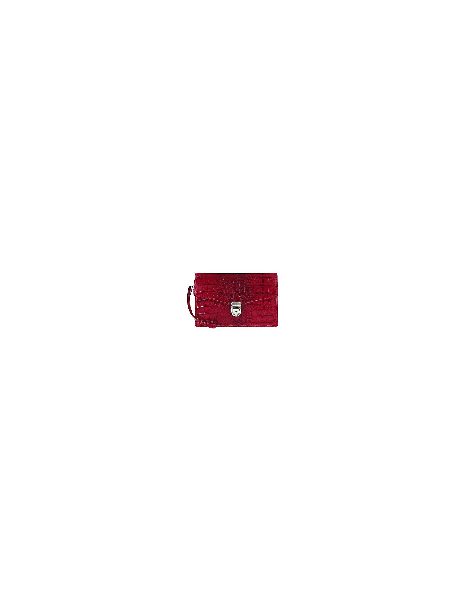 L.A.P.A. Handbags, Cherry Croco-embossed Leather Clutch