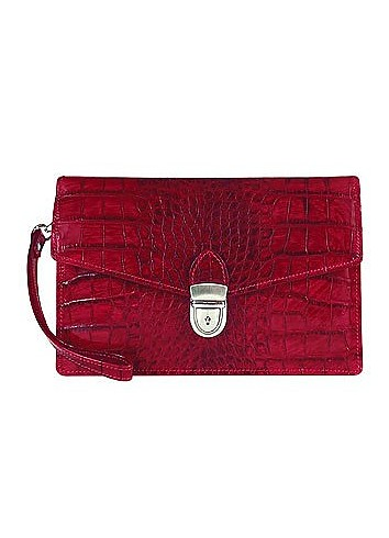 Cherry Croco-embossed Leather Clutch - L.A.P.A.