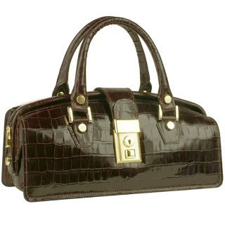 L.A.P.A. Dark Brown Croco-embossed Mini Doctor Style Bag :  stylish women womens bags
