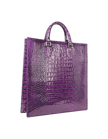 Violet Croco Large Tote Leather Handbag w/Pouch