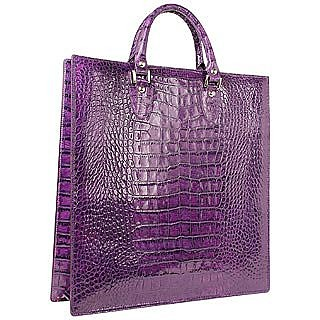 Violet Croco Large Tote Leather Handbag w/Pouch  - L.A.P.A.