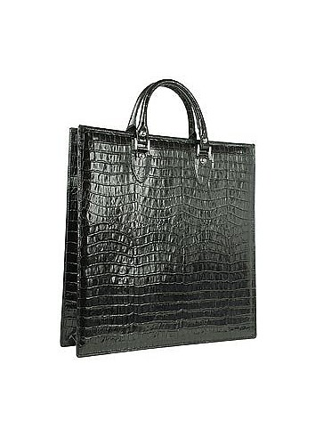 Black Croco Large Tote Leather Handbag w/Pouch - L.A.P.A.