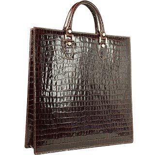L.A.P.A. Dark Brown Croco Large Tote Leather Handbag w/Pouch :  glamour women womens bags