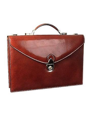 Classic Cognac Leather Briefcase
