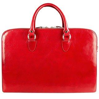 L.A.P.A. Bordeaux Red Leather Briefcase
