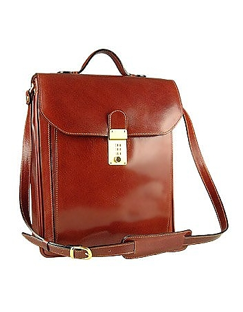 L.A.P.A. - Cognac Leather Vertical Briefcase