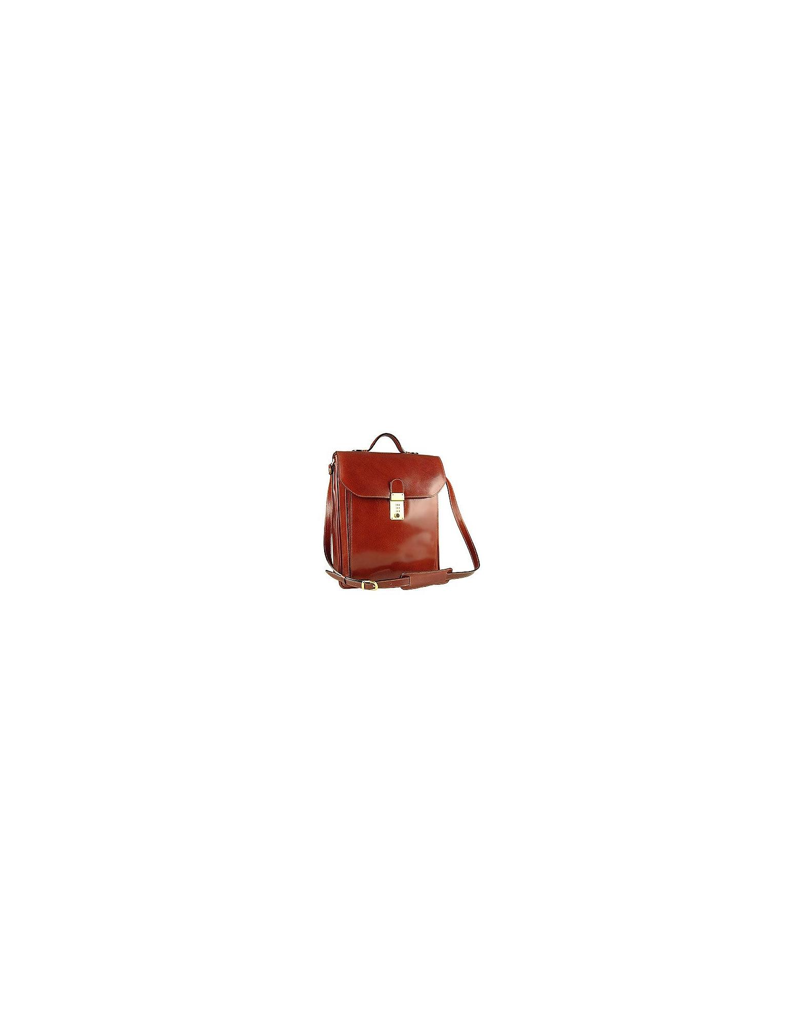 L.A.P.A. Briefcases, Cognac Leather Vertical Briefcase