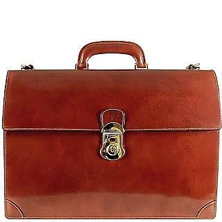 Classic Cognac Leather Briefcase - L.A.P.A.