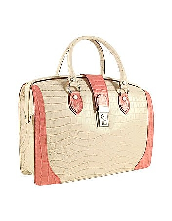 Ivory & Pink Croco-embossed Leather Doctor Bag