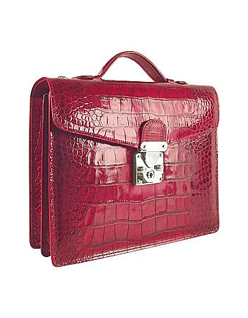 L.A.P.A. - Cherry Croco-embossed Double Gusset Compact Briefcase