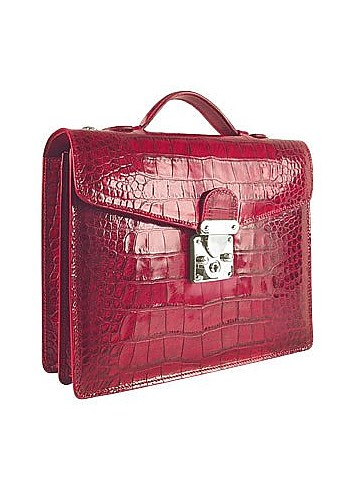 Cherry Croco-embossed Double Gusset Compact Briefcase - L.A.P.A.