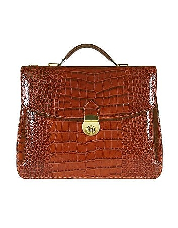 Cognac Croco-embossed Double Gusset Briefcase