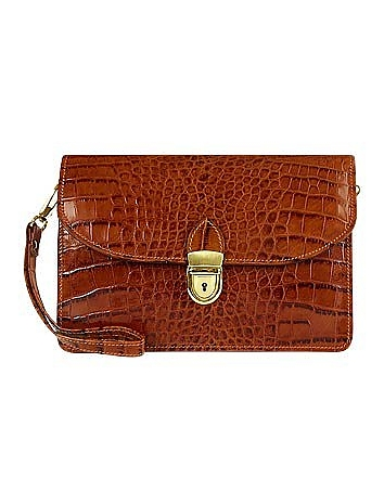 L.A.P.A. - Cognac Croco-embossed Leather Clutch