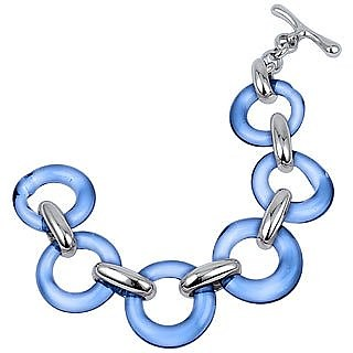 Blue Round Murano Glass & Sterling Silver Bracelet - Masini