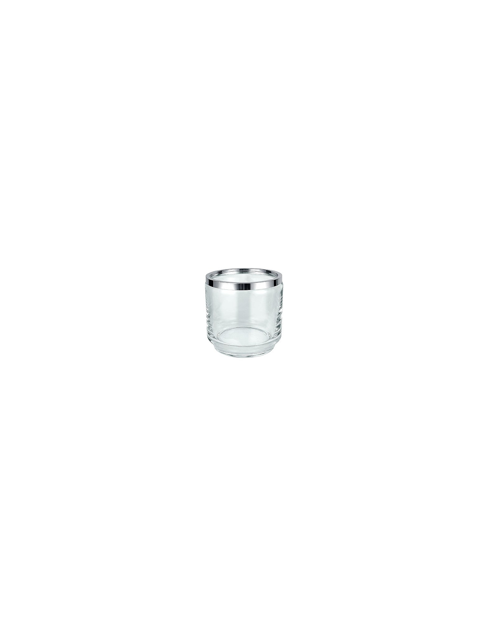 Masini Designer Kitchen & Dining, Glass and Silver Ice Bucket