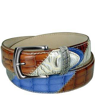 Embossed Leather Patchwork Belt