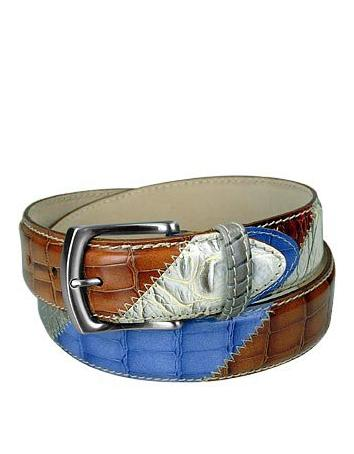 Embossed Leather Patchwork Belt