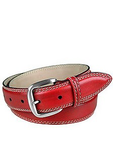 Red Leather Belt - Manieri
