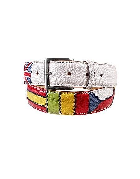 Foto Manieri Cintura in pelle patchwork bandiere Cinture Uomo