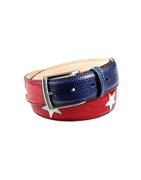 Foto Manieri Cintura in pelle patchwork bandiera americana Cinture Uomo